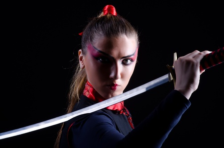 Woman in japanese martial art concept Stock Photo - 21308602