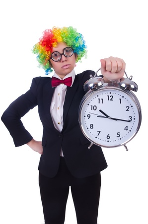 Funny clown with clock on white Stock Photo - 21308614