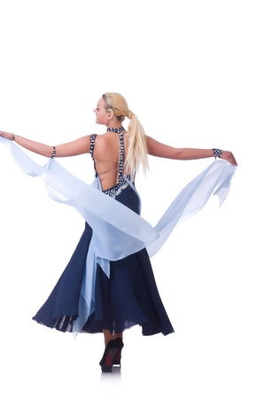Woman dancing on the white Stock Photo - 21308648