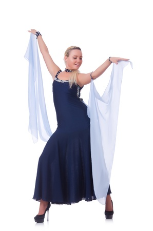 Woman dancing on the white Stock Photo - 21308653