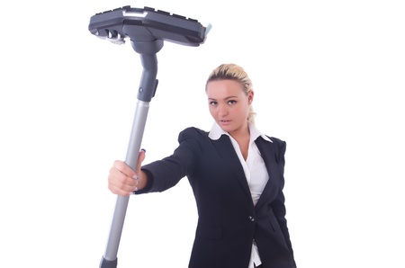 Businesswoman with vacuum cleaner on white Stock Photo - 21308676