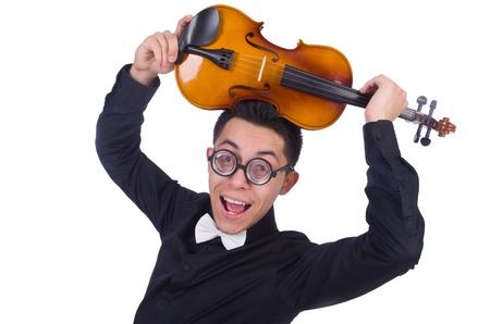 solo violinist: Funny violin player on white