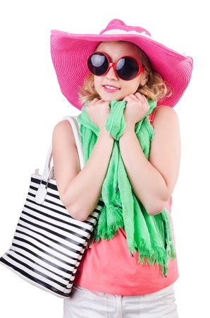 Girl preparing for summer vacation photo