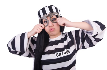 Prisoner in striped uniform on white Stock Photo - 21308984