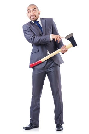 Funny businessman with axe on white photo