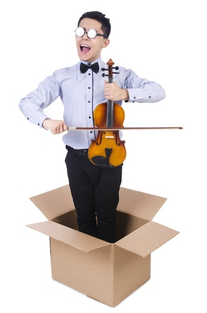 Man playing violin from the box photo