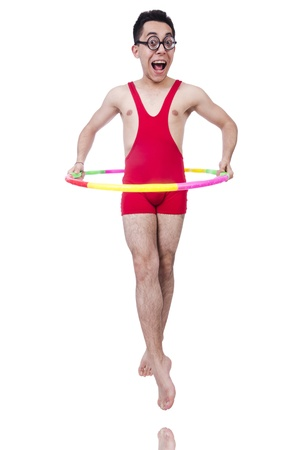pankration: Funny sportsman with hoop on white