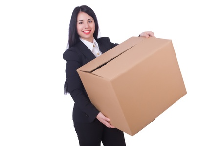 Woman with box on white photo
