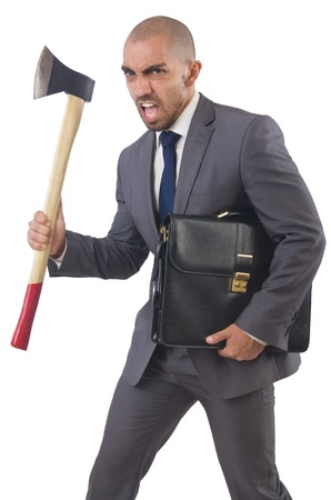 Funny businessman with axe on white Stock Photo - 21516003