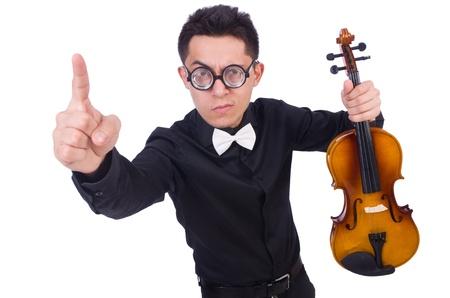 virtuoso: Funny violin player on white