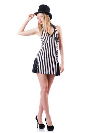 Modell trägt modische Kleidung auf weiß Standard-Bild