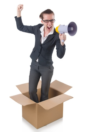 Woman businesswoman with loudspeaker inthe box photo