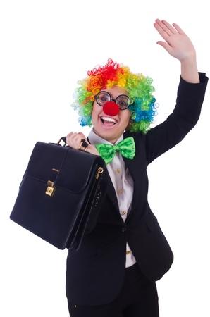 Woman clown businesswoman isolated on white Stock Photo - 21746757