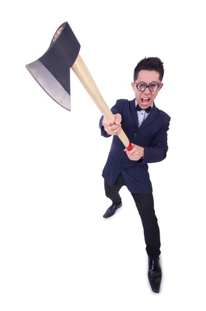 Funny man with axe on white photo