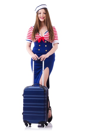 Woman travel attendant with suitcase on white Stock Photo - 21746983