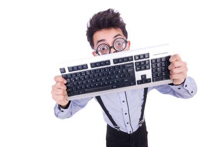 Computer geek nerd in funny concept photo
