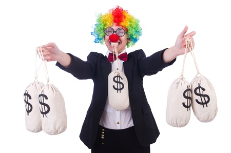 Businessman clown isolated on white Stock Photo - 21790744