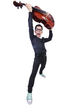 virtuoso: Funny man with violin on white