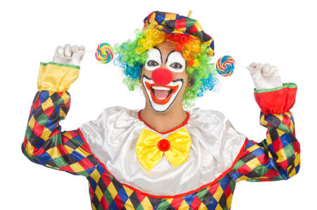 Clown mit Lutscher, isoliert auf weiss