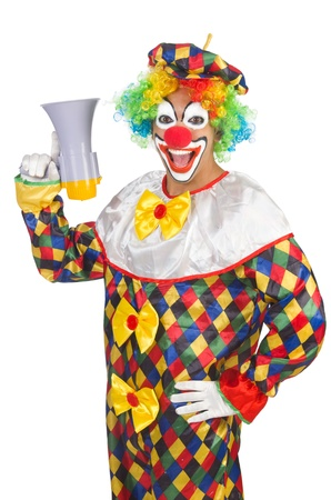 Clown with loudspeaker on white Stock Photo - 21791769