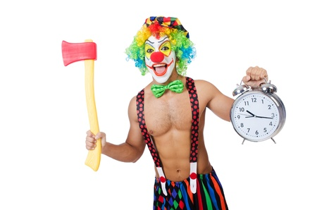 Clown with clock and axe on white Stock Photo - 21791872
