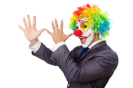 Businessman clown isolated on white photo