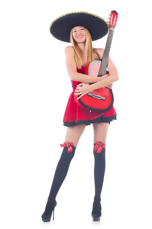 Woman in sombrero hat with guitar photo