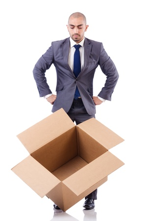 Businessman with box isolated on the white Stock Photo - 21792502