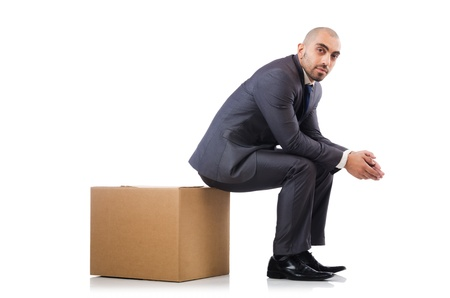 Businessman with box isolated on the white Stock Photo - 21792508