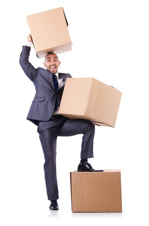 Businessman with box isolated on the white Stock Photo - 21792511