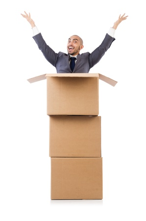 Businessman with box isolated on the white Stock Photo - 21792540