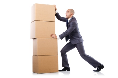 Businessman with box isolated on the white Stock Photo - 21792542