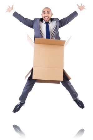 Businessman with box isolated on the white Stock Photo - 21792543