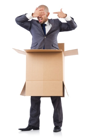Businessman with box isolated on the white Stock Photo - 21792544