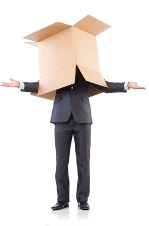 Businessman with box isolated on the white Stock Photo - 21792545