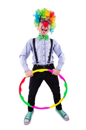 Funny clown with a hoop on white photo
