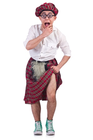 scot: Funny scotsman isolated on the white