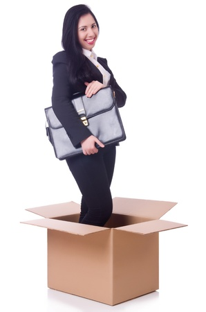 Woman in the box with briefcase photo