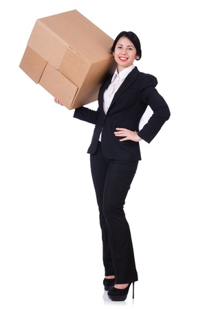 Woman with lots of boxes on white photo