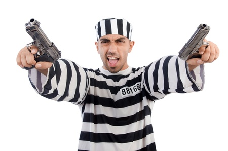 Prisoner with gun isolated on white Stock Photo