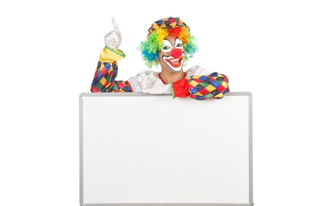 Clown with blank board on white photo