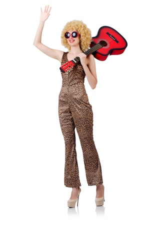 Young singer with afro cut and guitar Stock Photo - 22047096