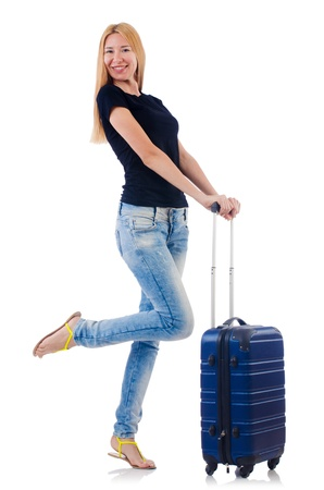 Woman preparing for vacation on white Stock Photo - 22046762