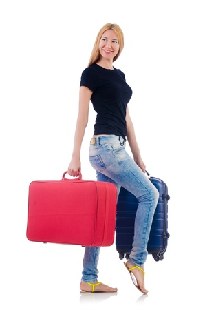Woman preparing for vacation on white Stock Photo - 22113823