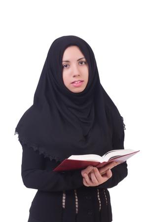 fille arabe: Jeune étudiante musulmane avec Saint Coran Banque d'images