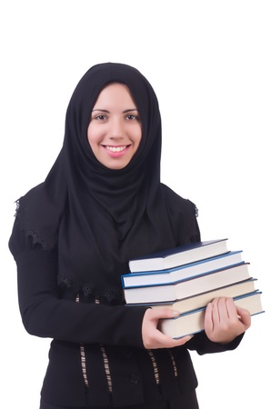 burka: Young muslim female student with books