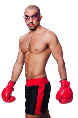 hematoma: Badly beaten boxer isolated on white