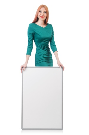 Woman in green dress with blank board Stock Photo - 22046405