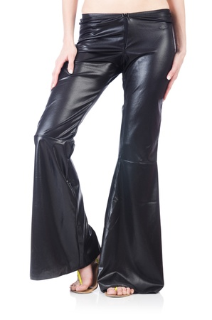 bell bottoms: Black leather bell-bottomed trousers  Stock Photo