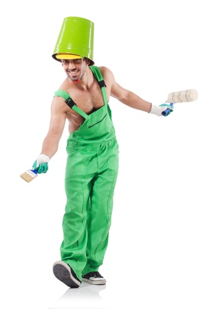 Painter in green coveralls on white Stock Photo - 22046181